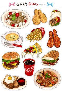 Cute Food Drawings, Food Sketch, Food Stickers, Football Food, Logo Food, Food Packaging, Food Illustrations, Food Menu, Food Gifts