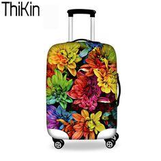 HUGSIDEA 30//32 Inch Purple Flower Dustproof Elastic Luggage Protective Covers