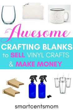 These are the best crafting blanks for Cricut projects to make money with Cricut vinyl projects. Turn your DIY crafts into a way for making money with Cricut. If you are starting a business using Cricut, then these blanks for vinyl crafting will help you create everything from monogramming, creative designs, and more! Cricut Explore Projects, Diy Projects To Sell, Crafts To Make And Sell, Sell Diy, Cricut Vinyl, Vinyle Cricut, Cricut Craft, Hobbies That Make Money, How To Make Money