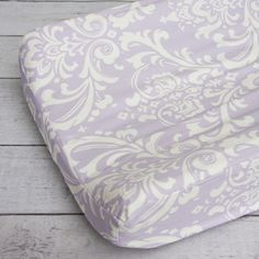 Lavender Sweet Lace Damask Changing Pad Cover. @cadenlane #purplenursery #changingpadcover