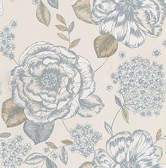 Mirella Porcelain Blue / Beige wallpaper by Prestigious