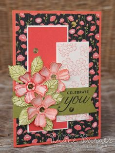 Birthday card using Stampin Up Birthday Blossoms stamp set & Pretty Petals DSP. By Di Barnes #colourmehappy #stampinup
