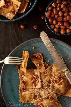 Pumpkin Ravioli with Hazelnut Brown Butter Sauce and Balsamic Drizzle | Will Cook For Friends