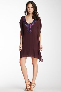 Embroidered Scoop Neck Caftan