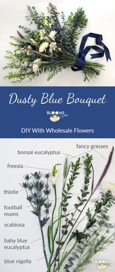 We love the lush look of this dusty blue bouquet! Perfect for the bride who wants overflowing greenery paired with soft neutrals and pale blue ! Learn how to make your own using baby blue eucalyptus, thistle and white football mums!