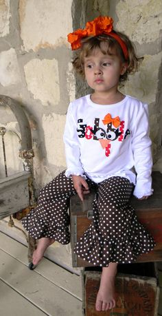 Gobble, Gobble... Thanksgiving Gobble Shirt and Boutique Ruffle Pants...You Pick Color Brown, Black or Red Polka Dot sizes 6-12m to 8 years. $40.00, via Etsy.