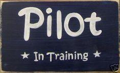 Pilot In Training Plaque Sign Boys Bedroom Decor Airplane. $21.95, via Etsy.