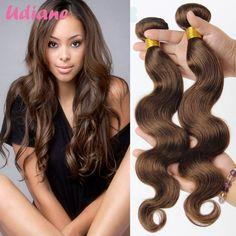 (109.20$)  Watch more here  - Udiane Medium Brown Brazilian Body Wave Hair 4 Bundles Color 4 Light Brown Hair Extensions Chocolate Brazilian Virgin Hair DBD02