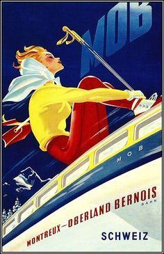 Wengen Mannlichen vintage swiss travel poster repro 16x24