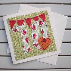 70th Birthday Card Handmade Machine Embroidered 70