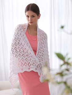 Special occasion on the way? Add a little magic and #knit this shawl in Bernat Satin Sparkle!