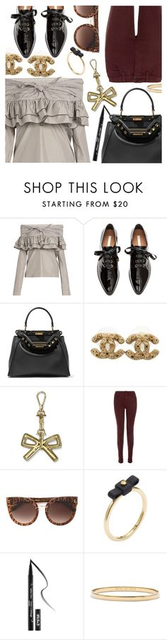 """""""Put A Bow On It"""" by stacey-lynne ❤ liked on Polyvore featuring Isa Arfen, Fendi, Chanel, Draper James, J Brand, STELLA McCARTNEY, Marc by Marc Jacobs, Kat Von D and Kate Spade"""