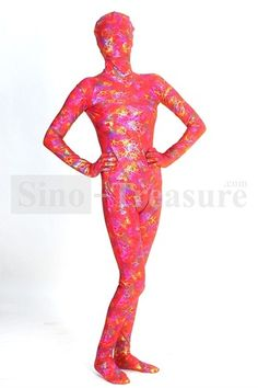 Red Camouflage Multicolor Metallic Lycra Zentai Suit With Special Patterns -Cosplay-Costumes-Catsuits & Zentai Costumes-Shiny Metallic Suits Squid Costume, Zentai Suit, Catsuit, Cosplay Costumes, Camouflage, Metallic, Suits, Patterns, Red