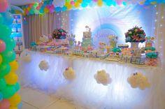 Care Bear Birthday, Care Bear Party, Little Girl Birthday, Unicorn Birthday Parties, Unicorn Party, Baby Birthday, Cloud Party, Decoracion Baby Shower Niña, Girl Birthday Decorations