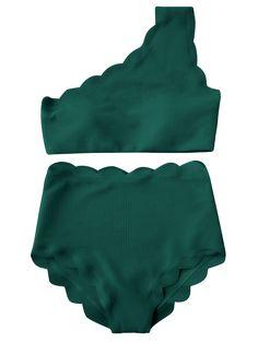 High Waisted Scalloped One Shoulder Bikini - BLACKISH GREEN S Mobile