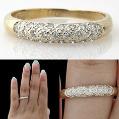 0.33ct GENUINE ROUND CUT VINTAGE DIAMOND WEDDING RING BAND SOLID 18K YELLOW GOLD