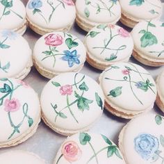 Painting pretty macarons for a photo shoot. #thefrenchconfectionco #macarons #handpainted #flowers #pretty #photoshoot