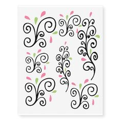 Casual Swirls Temporary Tattoos best personalized custom printed wedding temporary tattoos.  Use for bachelorette parties or wedding favors.  A fun way to personalize your wedding.