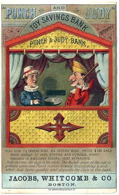 PUNCH And JUDY  Antique Mechanical  Bank Color