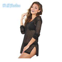 14ead3a00200c Beach Cover Up Mesh Swimwear Crochet Saida De Praia hollow Swimsuit Summer  Dress Womens Lace Bathing Suit Cover-Ups pareo