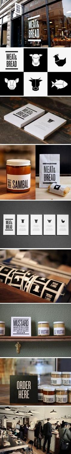 Branding // Meat Bread. Lovely branding and identity project for Vancouver restaurant, Meat Bread, by creative studio Glasfurd Walker, also based in Vancouver. The studio was approached to create a strong, masculine identity and brand design which communicates the restaurant's simple and uncomplicated offer. #branding #identity #logo #design by evelyn