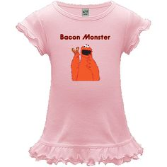 Bacon Monster Personalized A-Line Toddler Dress - Baby Pink! $24.99