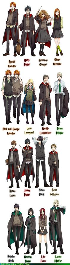 Harry Potter anime magna characters | Follow here http://pinterest.com/cakespinyoface/geekery/ for even more Geekery-- art, tech and more!
