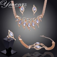 YMENGZ Unique Gift For Women Wedding Gold Filled Leaf Red Garnet Necklace Bracelet Earrings Ring Jewelry Sets GP2252/2255-2256