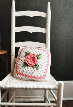 Vintage Crochet Pink Rose on White Throw Pillow by drowsySwords