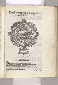 Anonymous | Blazoen van De Bloeiende Wijngaard (Berchem), 1561, Anonymous, 1561 - 1562 | Blazoen van De Bloeiende Wijngaard, rederijkerskamer te Berchem. Voor het Landjuweel van Antwerpen in 1561.