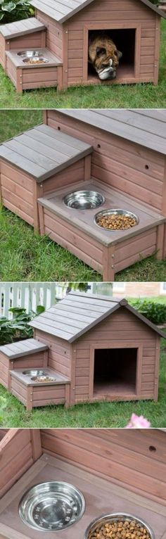 The ultimate multi-tasking dog house features a small cubby for storing supplies, a built-in food tray with metal bowls, and plenty of weatherproof details. When temperatures drop, the built-in heater automatically turns on to keep pets warm. Future House, My House, Animals And Pets, Cute Animals, Niches, Backyard, Patio, Dog Houses, Cubbies