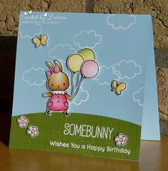 Car-D-elicious: Fairytale challenge - Balloons. Birthdaycard with the set BB Somebunny from My favorite things. I stamped the bunny, bow, balloons and flowers and I also stamped 2 butterflies from the set BB Adorable elephants from My favorite things and created this little scene with them. On a blue card I stamped the clouds with versamark ink and then I embossed them with white embossingpowder. I have cut a grass hill from green cardstock with the Borderlines trio - Creative cuts from Mama…