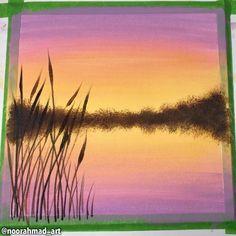Sunset Painting Easy, Sunrise Painting, Lake Painting, Easy Canvas Art, Simple Canvas Paintings, Easy Canvas Painting, Acrylic Paint On Canvas, Easy Acrylic Paintings, Canvas Painting Tutorials
