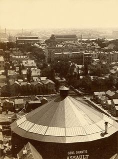 Panorama of Milwaukee, 1885 (image courtesy of Jeff Beutner) - The new Industrial Exposition Building gave a great vantage point for those photographing the city.