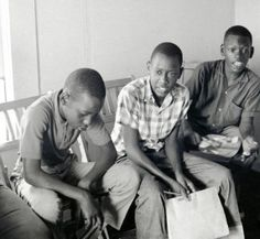 From the Randall (Herbert) Freedom Summer Photographs. Photograph (positive image of a negative) of a group of children from the Mobile Stre...