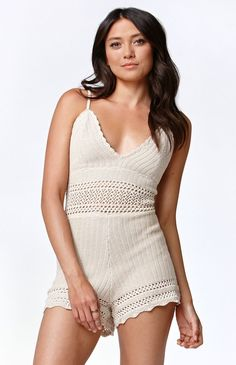 Kendall & Kylie Crochet V-Neck Romper