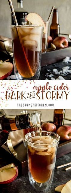 A simple seasonal twist on a popular rum cocktail - this Apple Cider Dark & Stormy replaces the ginger beer with autumn apple goodness. #darkandstormy #applecider #cocktail #rum #recipes #cider #hardcider #fall #autumn #drink