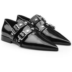 Victoria Beckham Patent Leather Loafers (7,875 GTQ) ❤ liked on Polyvore featuring shoes, loafers, black, black shoes, patent loafers, loafers moccasins, polish shoes and pointed toe loafers