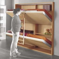 48 Best DIY Murphy Bed Ideas That Are Suitable For Small Space - Home-dsgnBest Diy Murphy Bed Ideas That Are Suitable For Small Space 1920 inspiring double Murphy bunk beds suitable for small spaces DIY Cama Murphy, Murphy Bunk Beds, Double Bunk Beds, Murphy Bed Desk, Bunk Bed Plans, Modern Murphy Beds, Murphy Bed Plans, Double Deck Bed, Desk Bed
