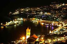Funchal city by night.