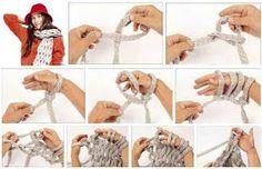 Tejido Facil: Paso a Paso: Bufanda tejida con los dedos/ las manos!