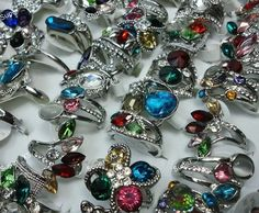 25Pcs Rhinestone Silver Plated Rings Mixed Wholesale Jewelry Lots Free Shipping