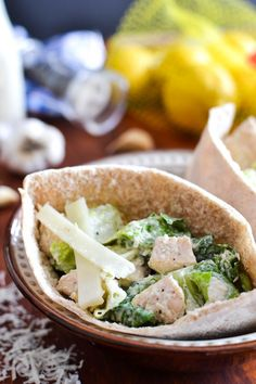 Best Ever Healthy Caesar Dressing + Caesar Salad Pita Pocket