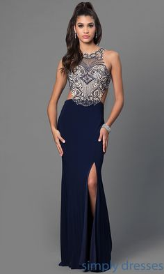 Long Formal Gown, Mock-Two-Piece, Jewel-Embellished