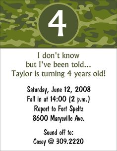10 Camouflage Army Camo Birthday Party Invitations or Printable DIY U print. $10.00, via Etsy.