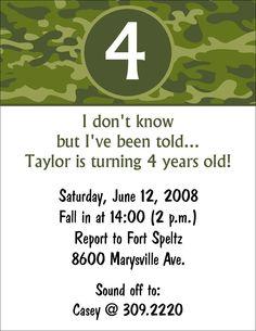 10 Camouflage Army Camo Birthday Party Invitations or Printable DIY U print. $10.00, via Etsy.