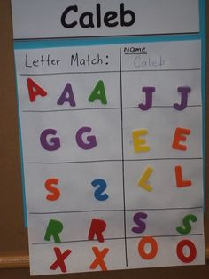Letter matching with foam ABC stickers