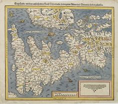A decorative and detailed 16th century map of Great Britain and the eastern portion of Ireland.  Oriented to the west; the map is from the Cosmographia Universalis.  Published by Sebastian Petri, son of Heinrich Petri; stepson of Munster.  A distance scale, several sea-creatures and a brief text in German complete the map.