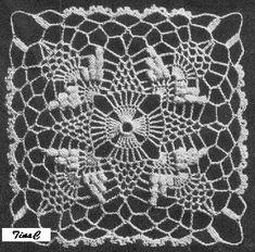 Totally Free Crochet Pattern Blog - Patterns: Popcorn Stitch Pineapple Square 745 Thread Motif Crochet Pattern