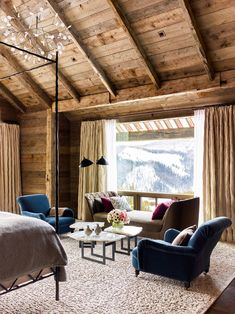 Emphasize a View The White Company, Chalet Interior, Interior Design, Ski Chalet Decor, Alpine Chalet, Big Windows, Master Bedroom Design, Master Master, Master Bedrooms